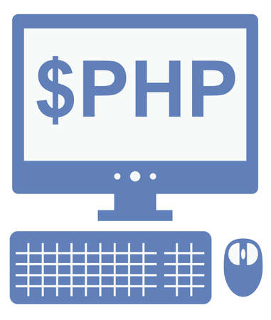vector icon of personal computer with dollar php inscription on the screen, isolated blue simple flat illustration on white background Vector