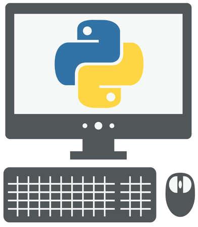 vector pictogram van de personal computer met python teken op het scherm, geïsoleerd grijs eenvoudige platte illustratie op witte achtergrond Stock Illustratie