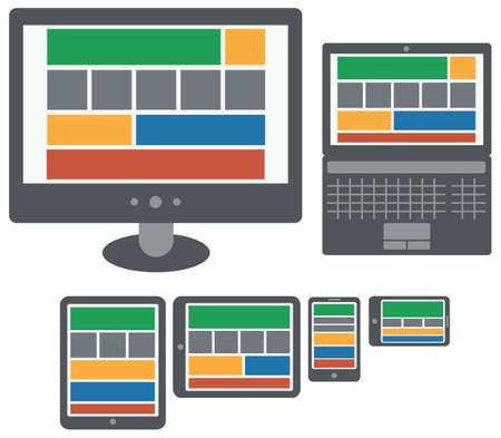 responsive design web application on screen of personal computer, laptop, tablet and smart phone isolated vector on white background Vector