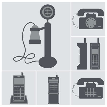 dialer: square icon set of black old phones, wired and cell phones isolated vector on light gray background Illustration