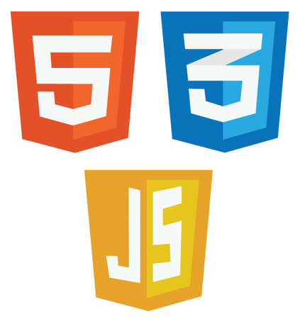 vector collection of web development shield signs  html5, css3 and javascript  isolated icons on white background