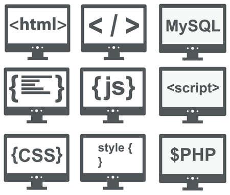 javascript: colecci�n de vectores de iconos de desarrollo web html, css, etiqueta, mysql, curvas, php, escritura, estilo, javascript - aislados en fondo blanco Vectores