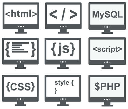 computer programmer: vector collection of web development icons  html, css, tag, mysql, curves, php, script, style, javascript - isolated on white background Illustration