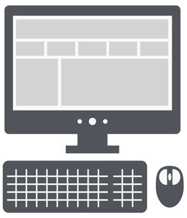 vector personal computer with website layout on the screen isolated vector on white background Vector