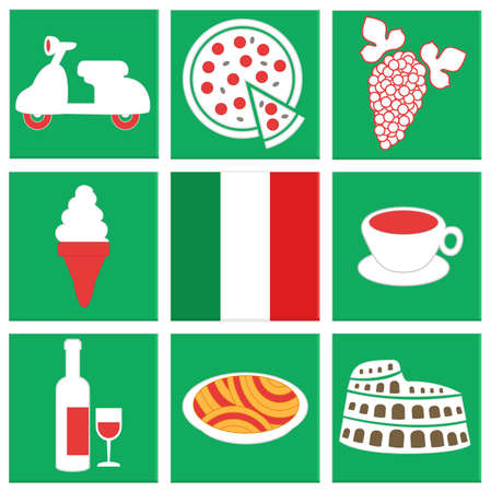 motocycle: collection of icons about italy: flag, food, vehicle, pizza, coffee, icecream, wine. isolated green square icons Illustration