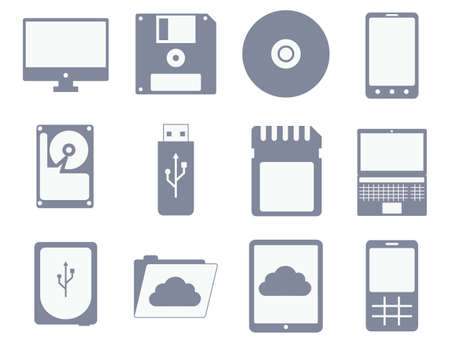 vector icon set of different storage and computer devices: flopp, compact disc, hard drive, tablet, mobile phone - isolated on white background Vettoriali