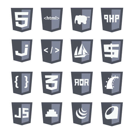 vector web shields icon set grey variant: html5, css3, php, scripts, tags, brackets - isolated flat design illustration on white background Stock Illustratie