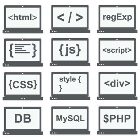 web development icon set - laptop screen shows web html tags, css styles, scripts Stock Illustratie