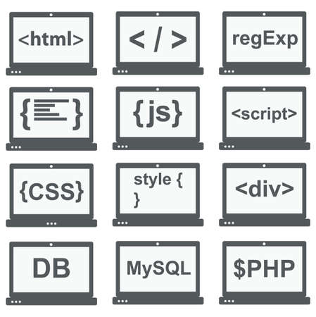 web development icon set - laptop screen shows web html tags, css styles, scripts Vettoriali