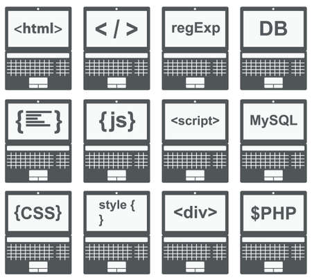 css: web development icon set - laptop screen shows web html tags, css styles, scripts Illustration