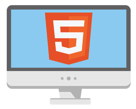 html5: vector icon of personal computer with html5 sign on the screen, isolated simple flat illustration on white background