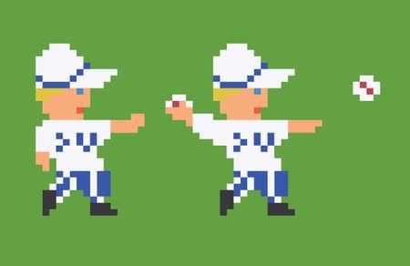 8bit: pixel art giocatore di baseball 8bit in uniforme bianca lanciando una palla su sfondo verde Vettoriali