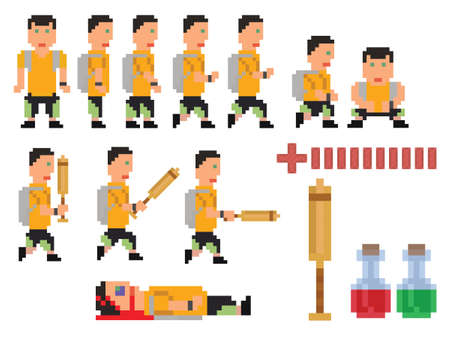bit: vector collection of pixel art style person, hero for computer game
