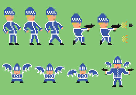 pixel art set of bandit in blue sport clothes walking, flying and shooting for game design development