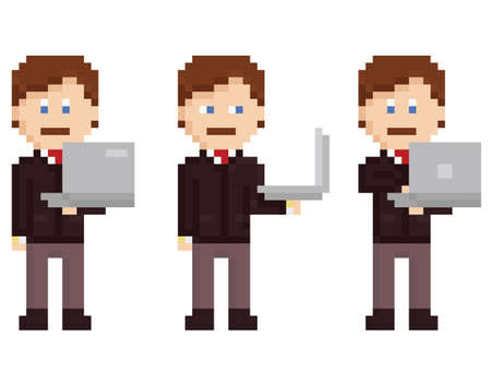 staying: business person in suit with tie staying and holding laptop