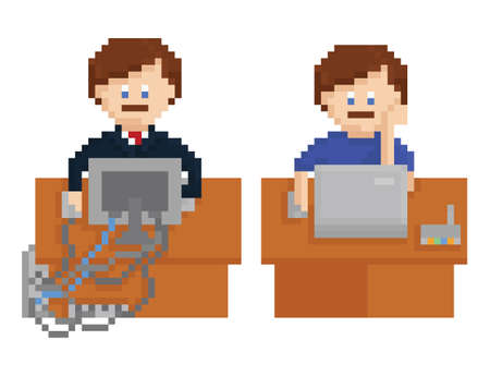 pixel art illustration - office table with wireless and wired computers and workers, isolated on white background Vector