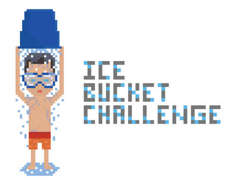 pixel art topless person wearing swimming mask and making ice bucket challenge isolated on white
