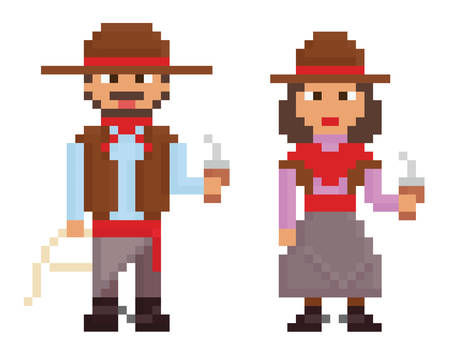 buenos aires: pixel art vintage style illustrations shows male and female argentinian gaucho isolated on white
