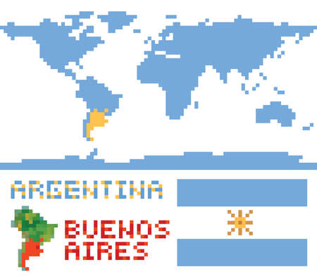argentina map: Argentina on world map, border shape flag and capital buenos aires isolated on white Illustration