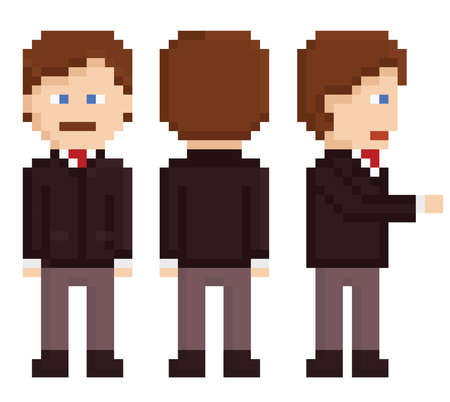 bit: pixel art businessman standing, back and hand shake isolated on white