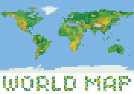 Technology bits world map shape file layered for easy manipulation pixel art style world physical map with green and yellow relief isolated on white vector gumiabroncs Choice Image