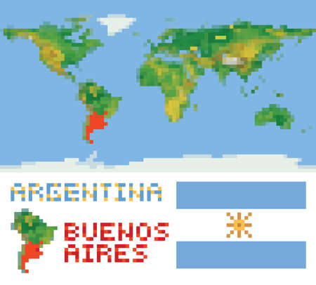 Argentina on physical world map, shape flag and capital buenos aires isolated on white Vector