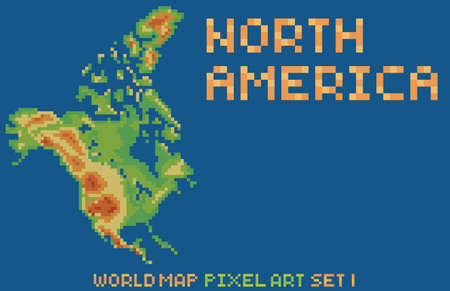 pixel art style map of north america, contains relief continent and islands isolated on dark blue