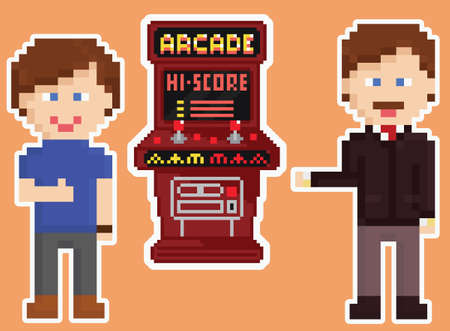 bit: pixel art style red arcade cabinet with two happy gamers showing thumb up isolated on orange background