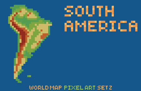 pixel art style map of north america, contains relief continent and islands isolated on dark blue photo