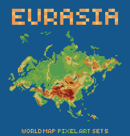 eurasia: pixel art style illustration of eurasia physical world map isolated on dark blue