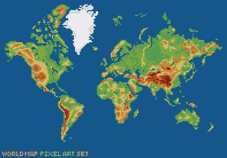 byte: pixel art style illustration - world physical map isolated on dark blue background