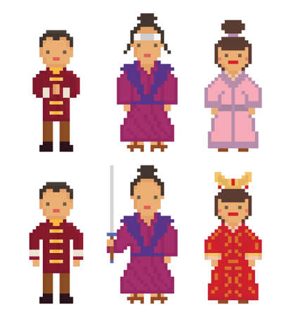 east asia: East Asia - Japan South Korea China Mongolia Man Woman People National Traditional Costume Dress Clothing pixel art set Illustration