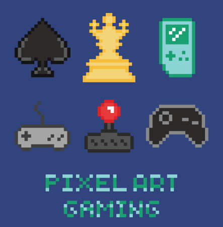 8-bit pixel art game design icon set - chess, gamepades, cards, portable console blue background Illustration