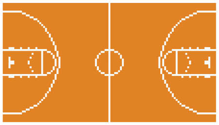 pixel art basketball sport court layout retro 8 bit illustration game design orange