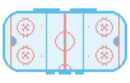 pixel art hockey stadium playground ice court retro style illustration light blue Stock Illustratie