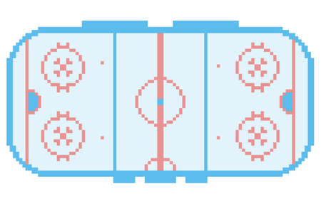 pixel art hockey stadium playground ice court retro style illustration light blue Illustration