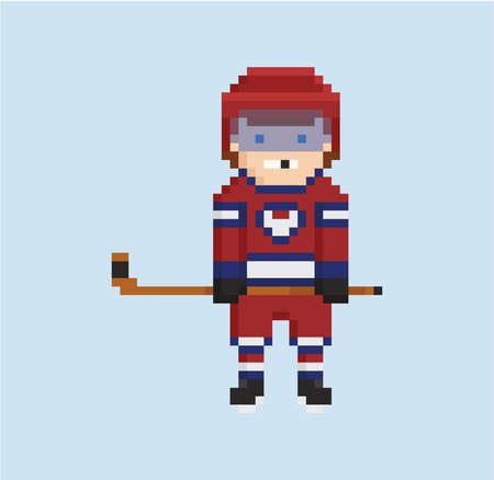 8 bit: pixel art style illustration shows hockey player in red, white and blue uniform isolated on light blue