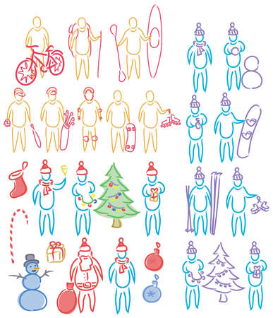 hand drawn set of doodle humen shapes, celebration christmas, playing summer and winter sport games Vector