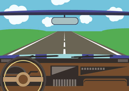 dash: drivers view from a car window to the road surrounded with green field Illustration