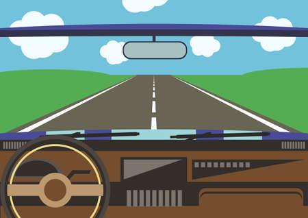 chauffeurs: vue du conducteur d'une fen�tre de la voiture sur la route entour�e de champ vert