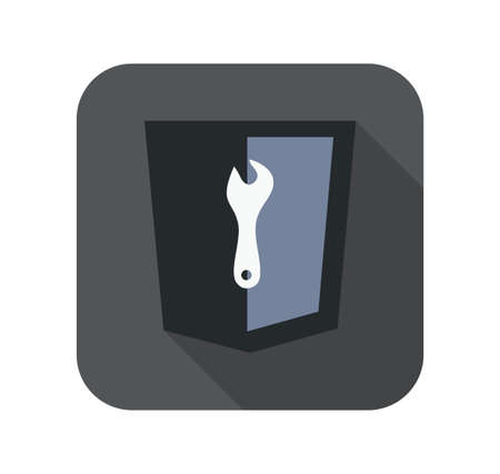 html5: html5 styled web icon dark blue shield with tool silhouette isolated button