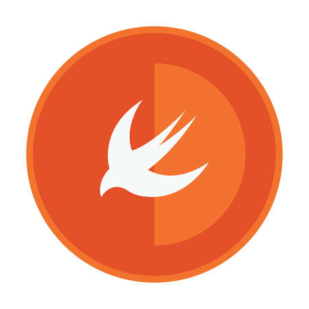 self development: html5 styled round badge shows swallow on orange light background icon Illustration
