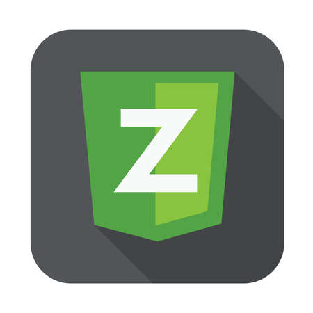 js: raster round icon of Z letter for zend framework - isolated flat design illustration