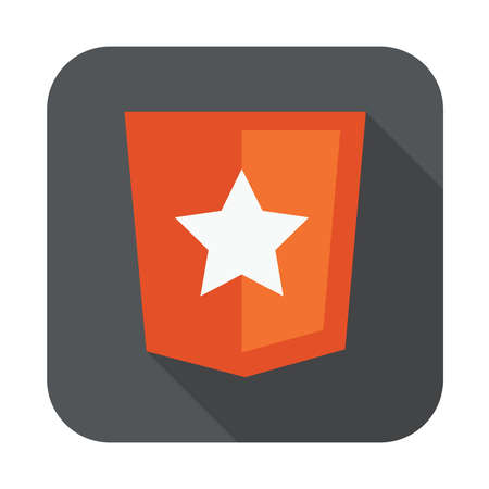 html5: raster round icon of boilerplate html5 template layout - isolated flat design illustration