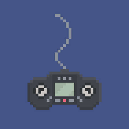 bit: pixel art design item - simply drawn wired gamepad with screen 8 bit icon