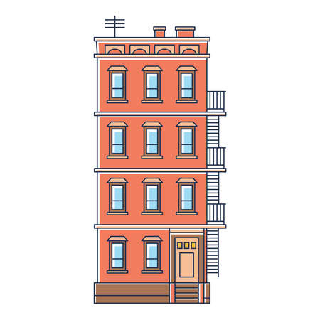 brownstone: vector illustration - new york united states red brick old building with stairs isolated vintage on white background