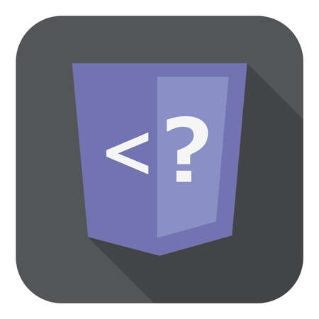 hypertext: illustration of violet shield with php programming language question mark, isolated web site development icon on white background Illustration