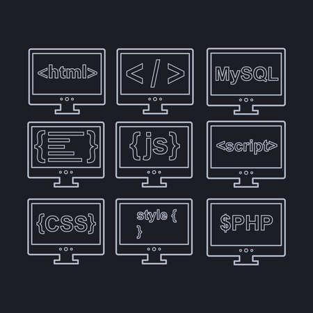 css: vector collection of web development icons - html, css, tag, mysql, curves, php, script, style, javascript - white on black background