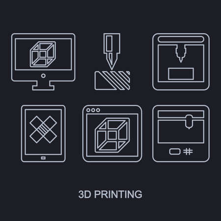 printers: Printing icon set showing manufacturing printers, tablet and computer monitor with modeling program white