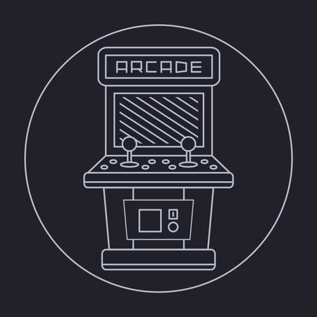 insert: pixel art style simple line drawing of arcade cabinet isolated vintage white item on black background